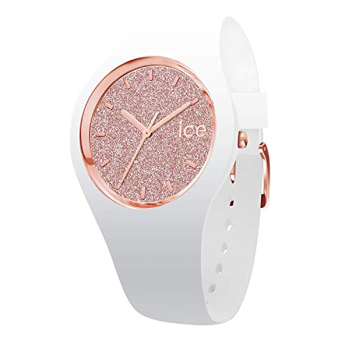Ice-Watch - ICE glitter White Rose-Gold - Gold Damenuhr mit Lederarmband - 001350 (Medium)