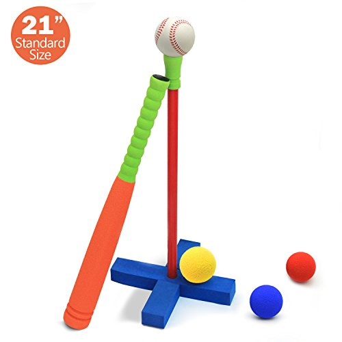 CELEMOON 21-Inch Kids Soft Foam T Ball Baseball Set Toy, 4 Different Colored Balls, Carry/Organize Bag Included, for Kids Over 3 Years Old (T-ball Kids)
