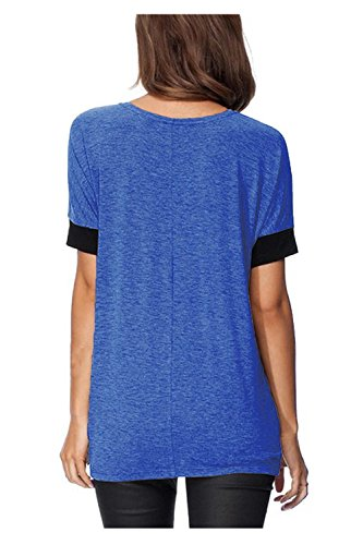 Beaii Damen Rundhals Kurzarm T-Shirt Lose O-Ansatz Bunt Stretch ModeTops Blau