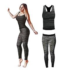 Idea Regalo - Bonjour® - Set di canotta e leggings, da donna, elasticizzati, abbigliamento sportivo, set per yoga e palestra, Black Vest Top, One Size ( UK 8 - 14 )