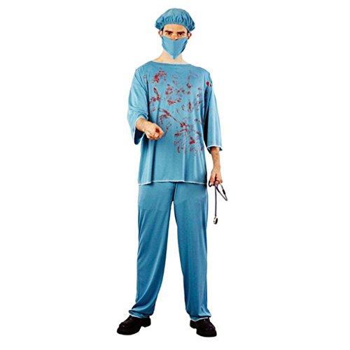 Republe Scary Arzt Krankenschwester Uniform Kostüm mit Kunstblut für Halloween-Party-Männer Frauen Kostüme (Frauen Für Halloween-kostüm Arzt)