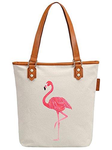 S.CHU Women's Flamingo Art Canvas Leather Tote Handbag Ladies Shoulder Bag Beige