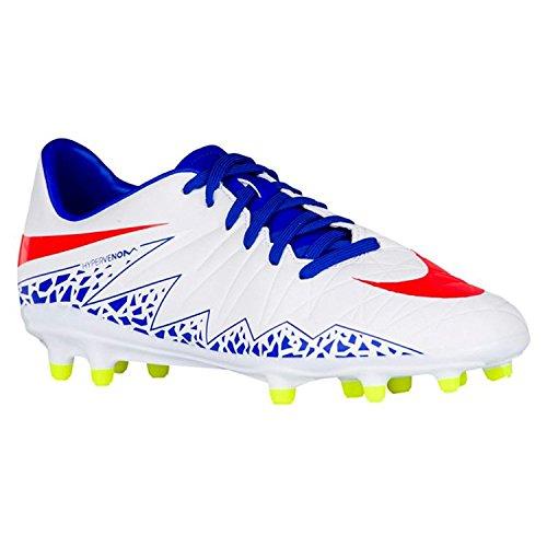 Nike Women's Hypervenom Phelon II FG Soccer Cleat (SZ. 8) White, Racer Blue
