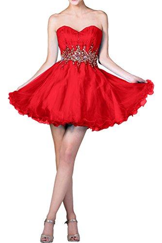 Milano Bride Luxurioes Blau Steine Damen Abendkleider Ballkleider Kurzes Cocktailkleider Partykleider Mini Rot