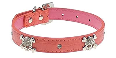 Sparkly Bad Dog Skull Crossbones 100% Genuine Leather Croc Print Big Dog Breed Leather Collar