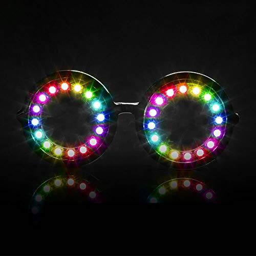 GloFX Pixel Pro LED-Brille - 350+ Modi - Programmierbare wiederaufladbare EDM Festival Rave Party Sonnenbrille