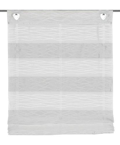 Home fashion schmidtgard stoffe - tenda a pacchetto con occhielli e ganci per finestra, motivo ondulato, colore: bianco 140 x 045 cm bianco