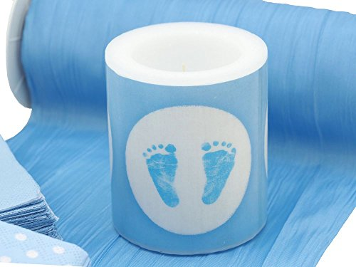 Tischdeko Taufe Blau Weiß Geburt Junge Baby Set 20 Personen - 2