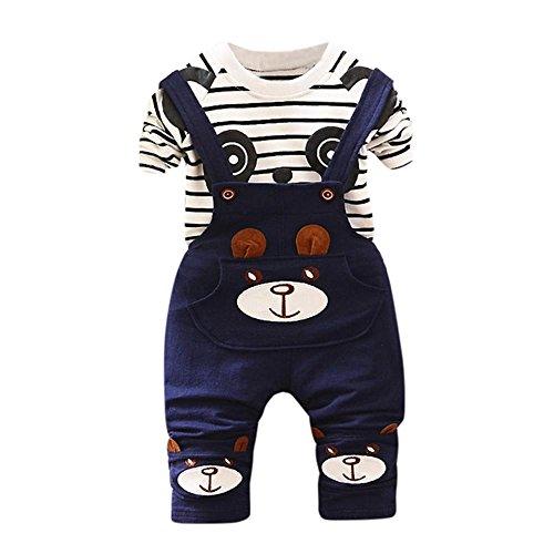 Koly Newborn Baby Boys Pants Sets Stripe T-shirt Tops + Bib Pants Set Overall Outfits (6-12M, Blue)