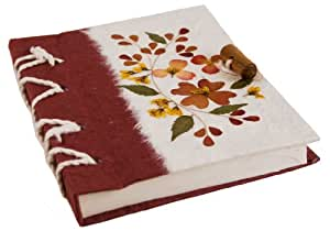 Floral Petal Small Red Flower Hand Bound Journal (17cm x 13cm)