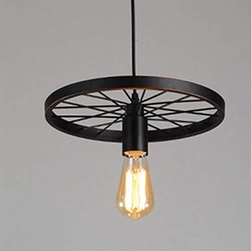 WOF Vintage Retro Metall hängende Pendelleuchte Lampe Edison Glühbirne Kunst Rad Modell Kronleuchter Beleuchtung E26 E27 Sockel 1X E27 max. 60W [Energieklasse A +] -