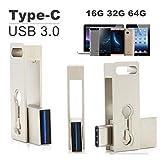 SETAYO 64GB USB-C a USB 3.0 Flash Drive Memory Stick con llavero para el MacBook Pro, Samsung Chromebook Además, Nexus 6P 5X, Google píxeles, G5 LG, HTC y Más 10 -Estilo F
