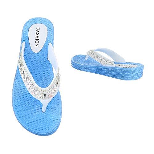 Ital-Design , Escarpins peep-toe femme Bleu/blanc