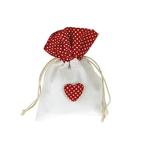 Alice's decorations Bomboniere Fai da Te sacchettino in Cotone a Pois con Applicazione a Cuore Confezione da 20 Pezzi