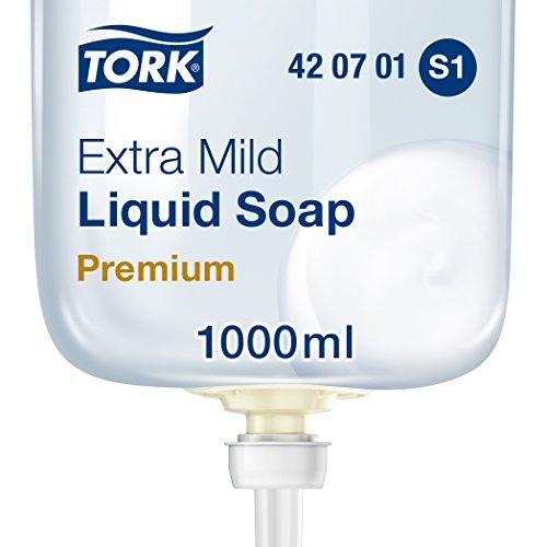 Tork 420701 extra milde Flüssigseife Premium für Tork S1 Seifenspendersysteme/Extra milde Handseife in Weiß mit sanften Inhaltsstoffen für empfindliche Haut/1 x 1000ml (S1 Seifenspender)