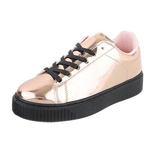 Low-Top Sneaker Damenschuhe Low-Top Sneakers Schnürsenkel Ital-Design Freizeitschuhe Rosa Gold B3147B-SP