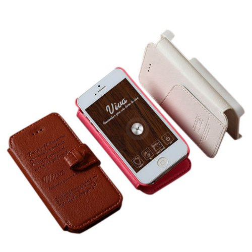 KLD style rŽtro en cuir PU Cover Protector Case pour iPhone 5 5S rose