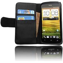 Cadorabo ! PREMIUM - Custodia Libri Style design portafoglio per HTC ONE S in NERO