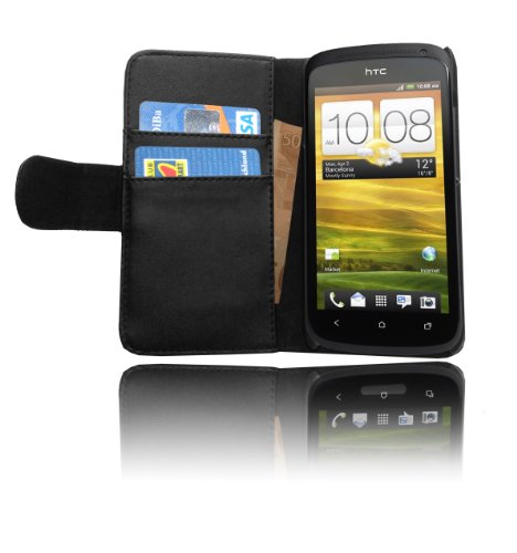 Cadorabo - Book Style Hülle für HTC ONE S - Case Cover Schutzhülle Etui Tasche mit Kartenfach in OXID-SCHWARZ