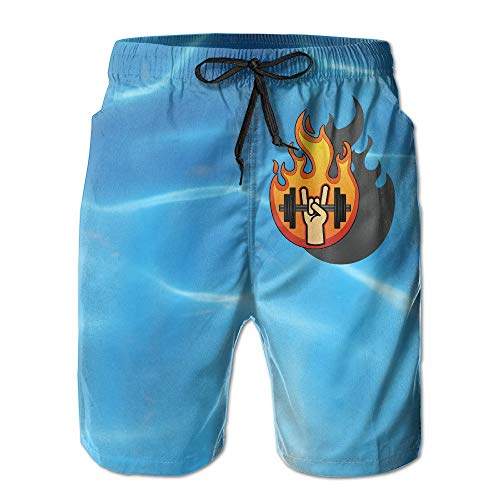 Naiyin Men's Music Genre Heavy Metal Cool Logo Swim Trunks Beach Board Shorts (L)