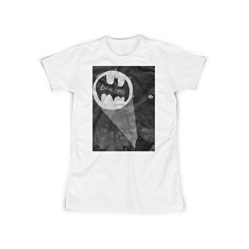 t mit Aufdruck in Weiß Gr. XL Bring Coffee Superheld Signal Design Girl Top Mädchen Shirt Damen Basic 100% Baumwolle Kurzarm (Superhelden Outfit Für Mädchen)