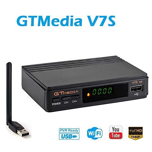 GTMedia V7S HD DVB-S2 Receptor de TV Vídeo Digital Full HD 1080P HD Soporte Biss Clave para TV HDTV + USB WiFi