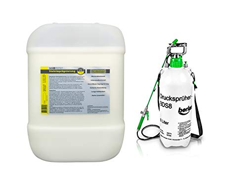 Nanoprotect Steinimprägnierung mit Drucksprüher | Profi Qualität | Vorbeugend gegen Grünbelag und Einschmutzung | 10 L für ca. 80-120 m²