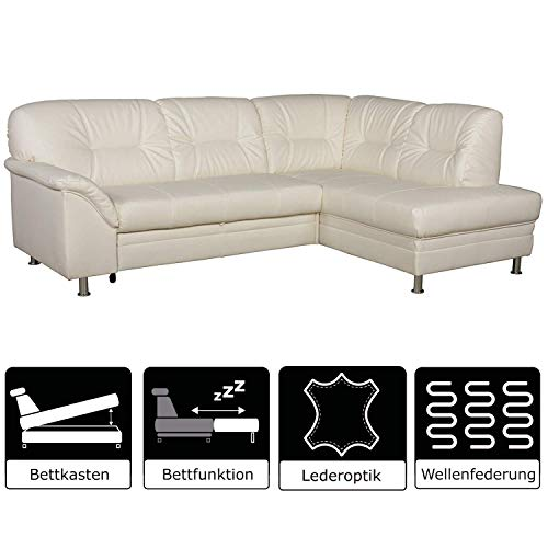 Leder Sitzgarnitur Sofa (Cavadore Ecksofa Lorcano mit Bett / Helles Schlafsofa mit geräumigem Bettkasten / 237 x 89 x 168 / Kunstleder weiß)