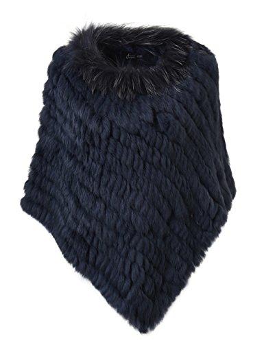 Ferand - poncho elegante mantella casdo inverno a maglia in pelliccia vera di coniglio con colletto in pelliccia di procione - donna - taglia unica - blu navy