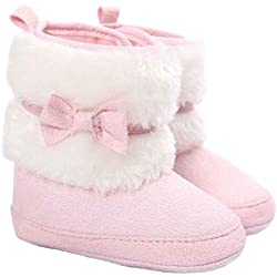 Culater® Bambino Bowknot tenere in caldo morbido Sole neve Presepe Shoes Boots (13, Rosa)