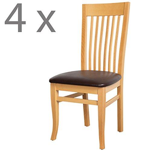 Schwarzwald Massivholz Esszimmerstuhl ST05 Toskana mit Sitzpolster belastbar bis 150 kg Gastro Qualität in Wenge, Nussbaum oder Buche (4 Stühle, Buche Naturlackiert/Braun) -