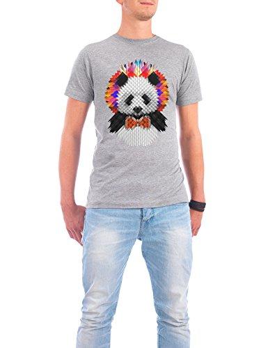 "Design T-Shirt Männer Continental Cotton ""Panda"" - stylisches Shirt Tiere Geometrie Comic von Ali GÜLEÇ Grau"