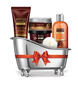 Bryan & Candy New York Cocoa Shea Bath Tub Kit Gift For Women And Men Combo For Complete Home Spa Experience (Shower Gel, Hand & Body Lotion, Sugar Scrub, Body Polish)