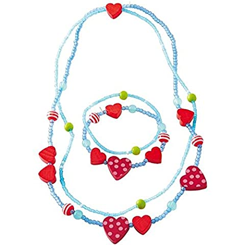 Haba–Collier Femme–Cœurs et assorti–Bracelet Femme–Coeurs–Parure Collier et