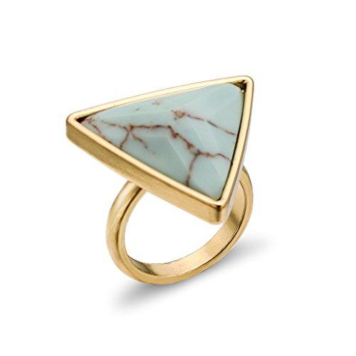 Frauen Statement Big Dreieck-Ring Geburtsstein Gold-Ton-Band-Ring (Kostüme In Retro Indien)