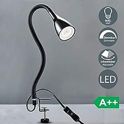 Lampada LED da tavolo con morsetto dimmerabile, include lampadina 5W GU10, luce calda 3000K, lampada da scrivania o comodino nera