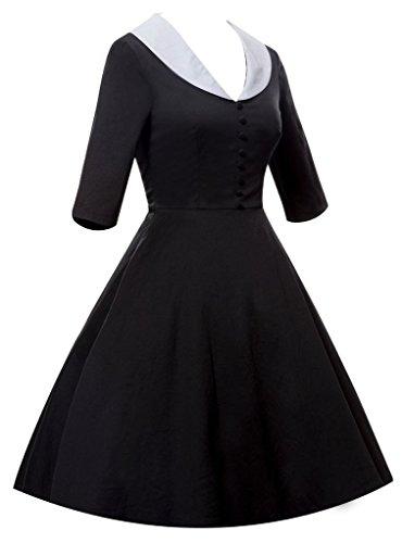 Eyekepper Robe Femme / demoiselle - Robes Vintage couleur col en V robes cocktail Noir