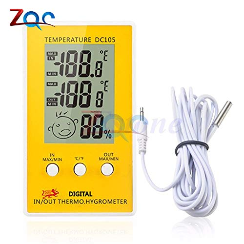 Digitales LCD-Indoor-Outdoor-Feuchtigkeits Thermometer Hygrometer Meter Sonde Kabel C/F LCD Meteo Wetter Station Diagnostic-Tool