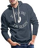 Je Peux Pas J'Ai Rugby Sweat-Shirt à Capuche Premium pour Hommes, XL, Bleu Jeans