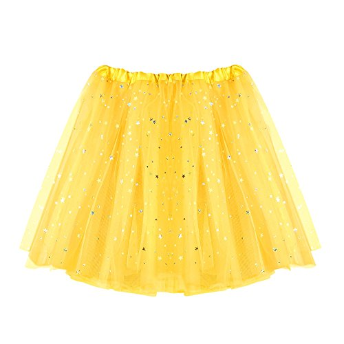 VEMOW Elegante Damen Tutu Petticoat Womens Karneval Short Rock Plissee Gaze Kurzen Rock Erwachsene Tutu Tanzen Rock für Rockabilly Kleid(Gelb, ()