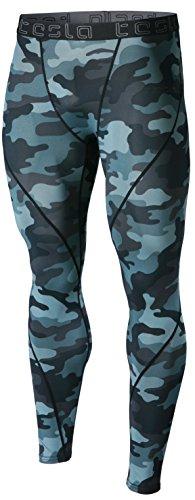 TSLA TM-MUP19-MDG_X-Large Men's Compression Pants Running Baselayer Cool Dry Sports Tights Leggings MUP19