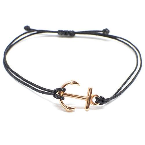Anker Armband in Roségold auf schwarzem Band – Filigrane Frauen Armbänder – Größenverstellbar und schon als Geschenk verpackt SelfmadeJewelry
