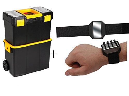 Praktischer Werkzeugtrolley aus Kunststoff 2-Teilig-Separat Verwendbar + EASY Work Magnetarmband