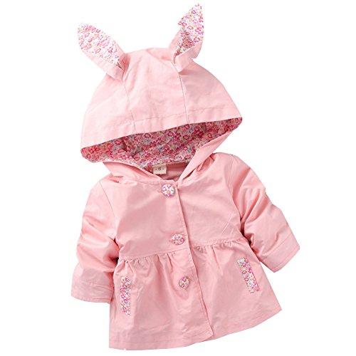 Free Fisher Baby/Kinder Mädchen Trenchcoat Übergangsjacke mit Kapuze, Rosa, Gr. 86/92( Herstellergröße: 90) (Mädchen Kleine Trenchcoat)