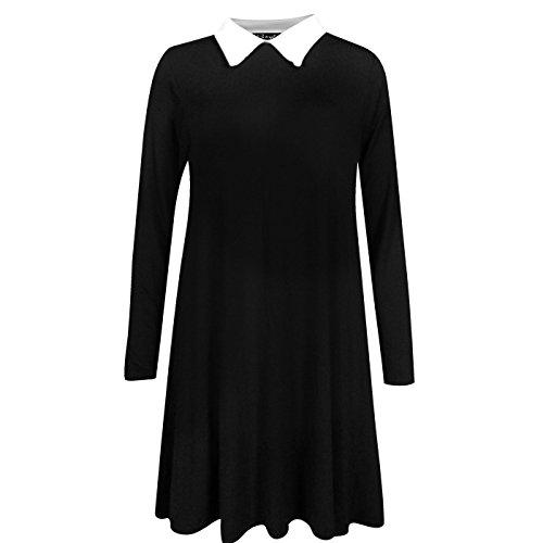 Fashion 4 Less - Robe - Swing - Manches Longues - Femme Noir