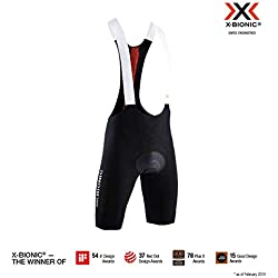 X-Bionic The Trick 4.0 Bike Bib Padded Shorts, Hombre, Opal Black/Sunset Orange, M