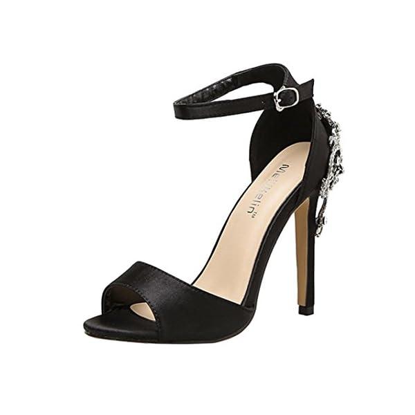 new product 3e409 b4ab6 BeautyTop Sandali Estivi da Donna con Zeppa Elegante Ragazze Estate Sandali  Diamond di Lusso Scarpe con Tacco Alto Caviglia Aperte Peep Tacchi per ...