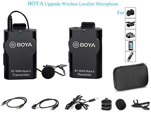 Boya by-wm42.4GHz wireless Lavalier Lapel mic microfono omnidirezionale, sistema di registrazione audio con Easy Clip On, 3.5mm spina per Canon Nikon Sony DSLR, camcorder, iPhone Huawei smartphone