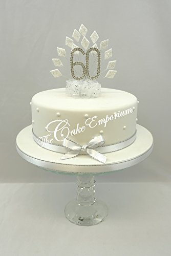 CAKE DECORATION DIAMOND 60th WEDDING ANNIVERSARY DIAMANTE CAKE TOPPER