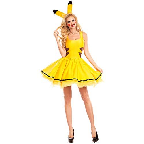 Kostüm Bienenkönigin Kind - QWEASZER Damen Biene Hummel Deluxe Bienenkönigin Verrücktes Kleid Kostüm Halloween Party Cosplay Kleid Kostüm Nachtclub Bar Bühne Performance Kostüm,Yellow-XL